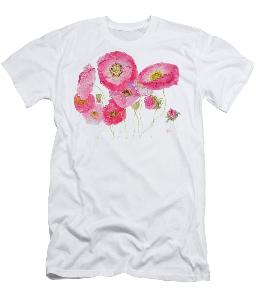 Poppies Men's T-Shirt (Athletic Fit) featuring the painting Poppy Painting On White Background by Jan Matson