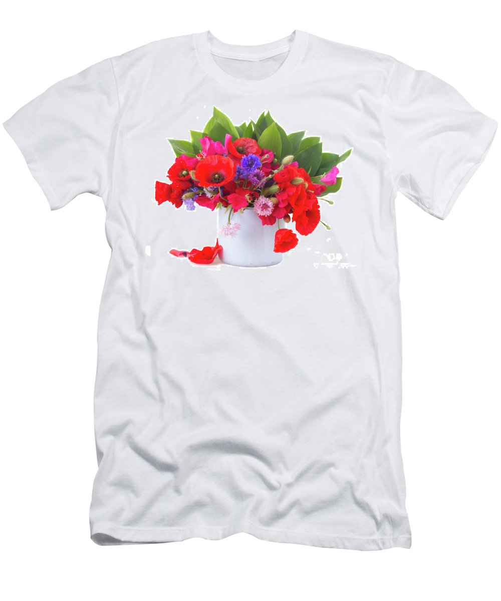 Poppy Men's T-Shirt (Athletic Fit) featuring the photograph Poppy With Sweet Pea And Corn Flowers On White by Anastasy Yarmolovich