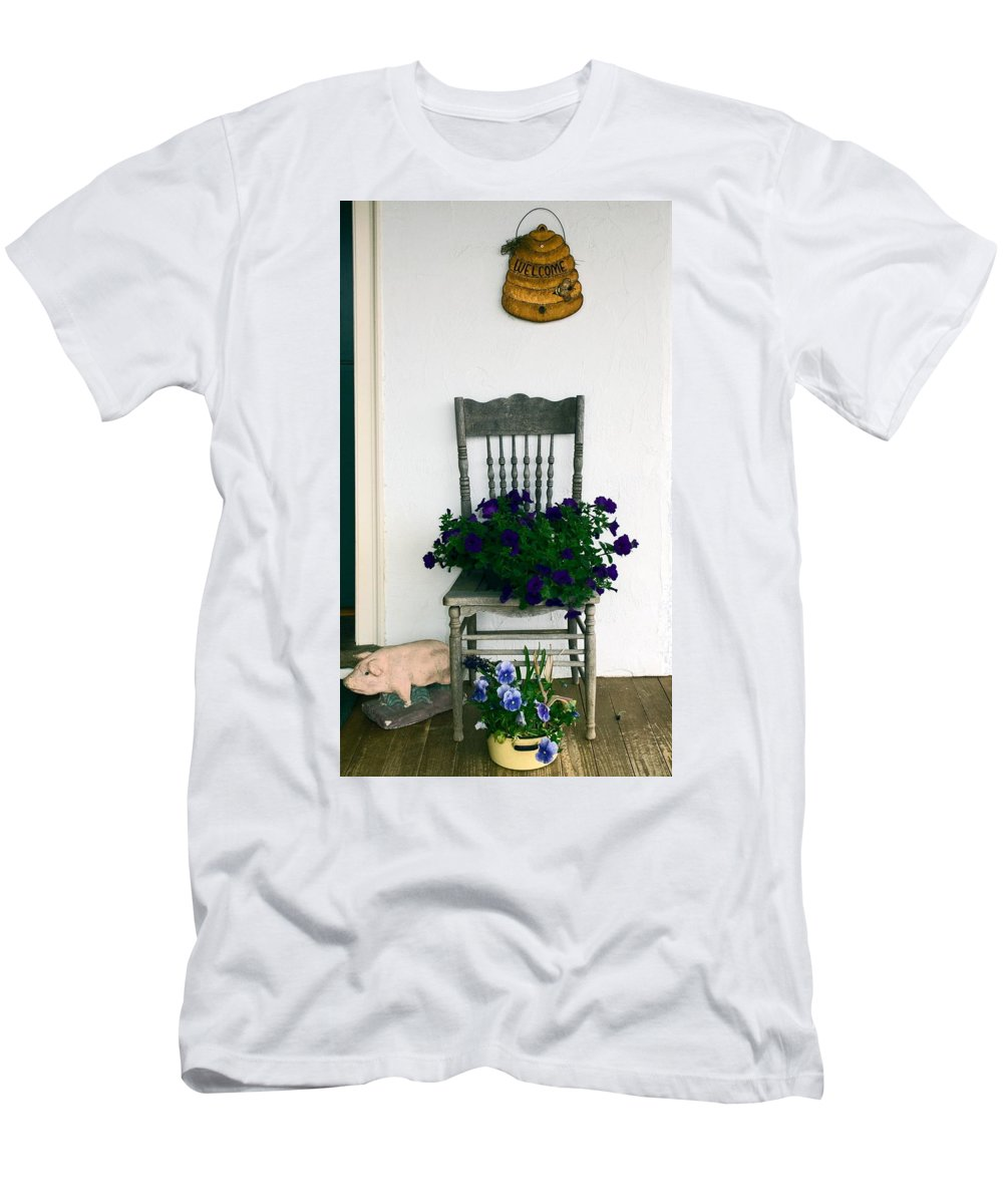 Flowers In Pots Men's T-Shirt (Athletic Fit) featuring the photograph Porch Flowers by Sally Weigand
