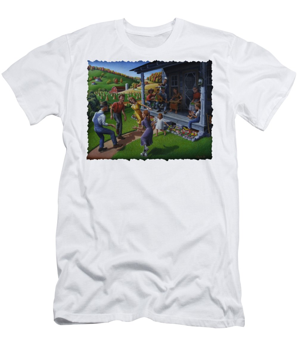 Porch Music Men's T-Shirt (Athletic Fit) featuring the painting Porch Music And Flatfoot Dancing - Mountain Music - Appalachian Traditions - Appalachia Farm by Walt Curlee