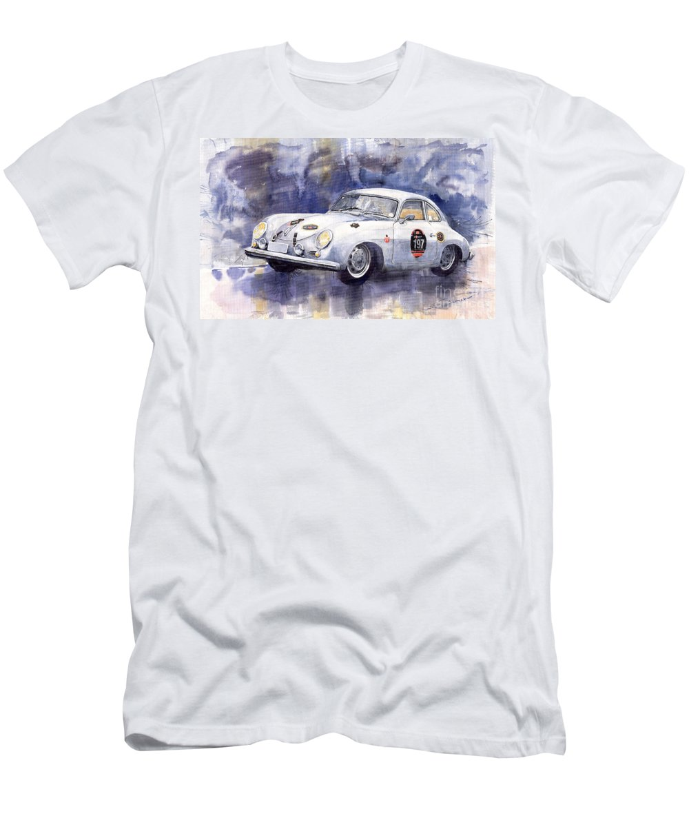 Watercolour Men's T-Shirt (Athletic Fit) featuring the painting Porsche 356 Coupe by Yuriy Shevchuk