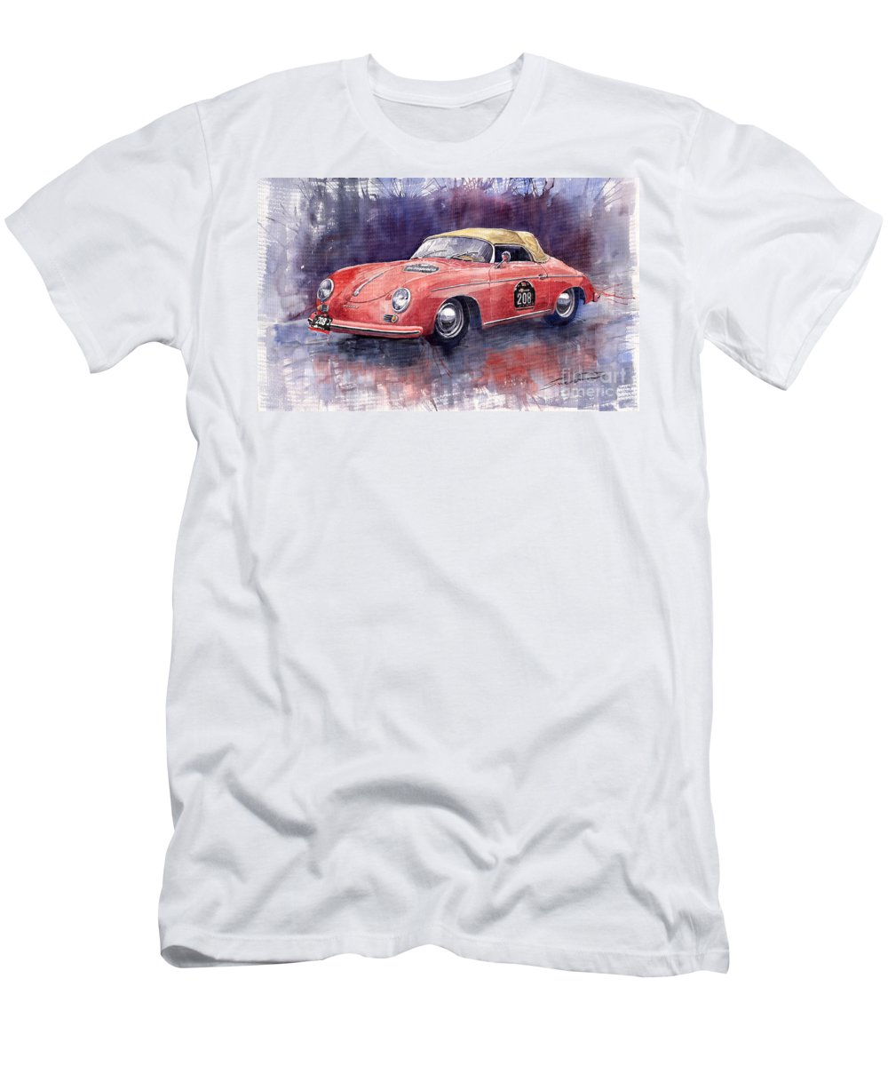 Watercolour Men's T-Shirt (Athletic Fit) featuring the painting Porsche 356 Speedster Mille Miglia by Yuriy Shevchuk