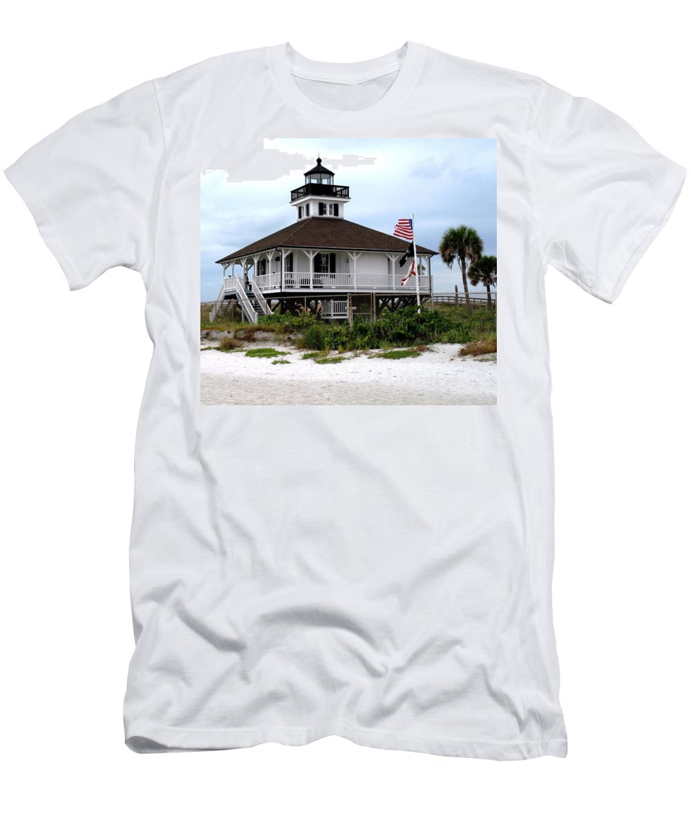 Florida Men's T-Shirt (Athletic Fit) featuring the photograph Port Charlotte Harbor Lighthouse by Ian MacDonald