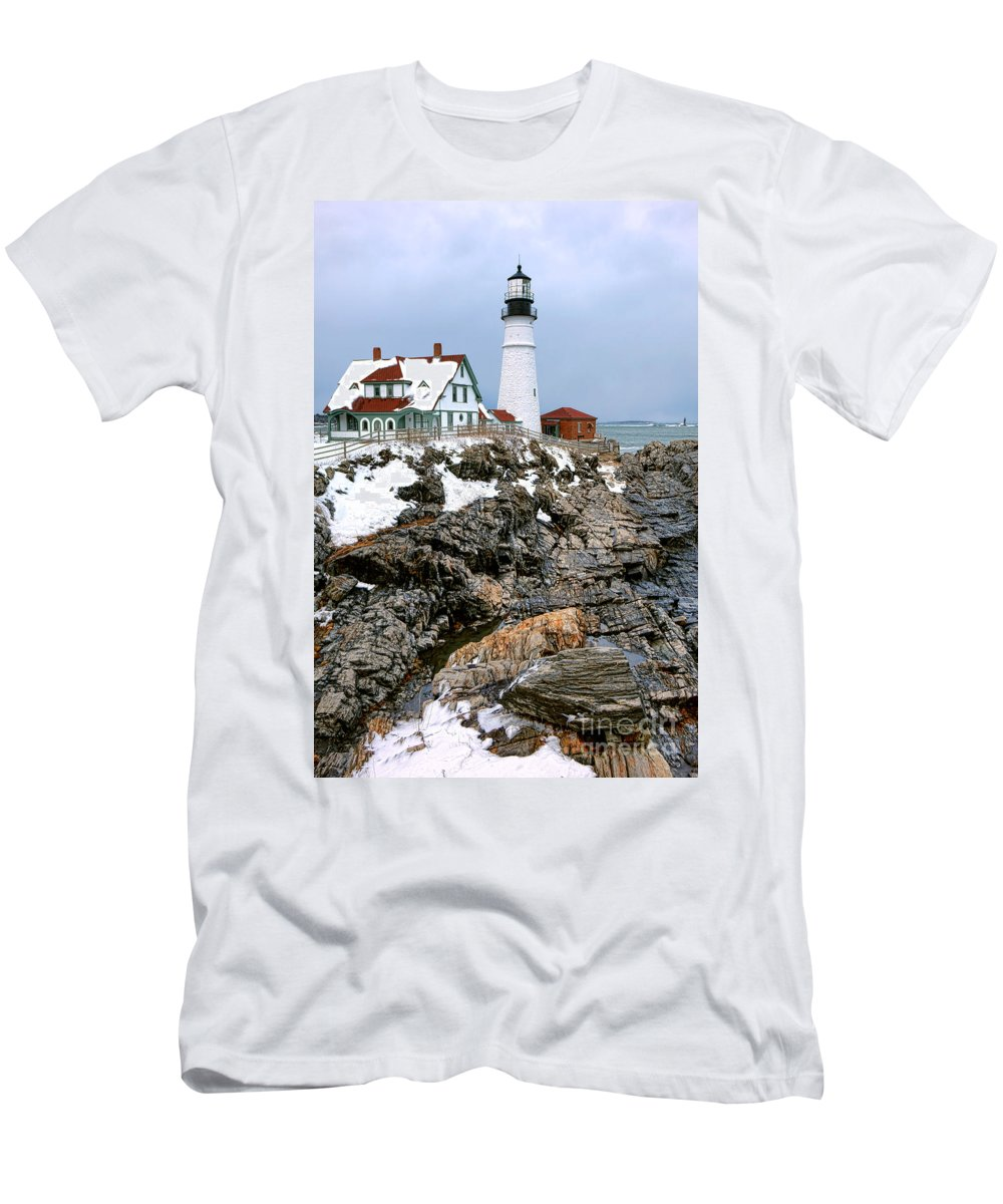Portland Men's T-Shirt (Athletic Fit) featuring the photograph Portland Head Light In Winter by Olivier Le Queinec
