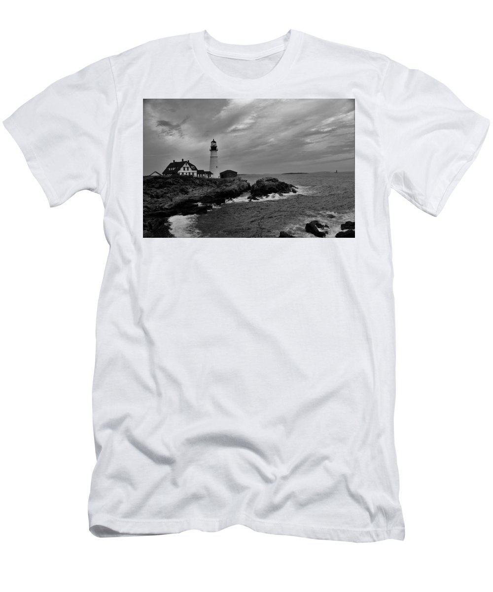 Black & White Men's T-Shirt (Athletic Fit) featuring the photograph Portland Head Lighthouse II by Darlene Perry