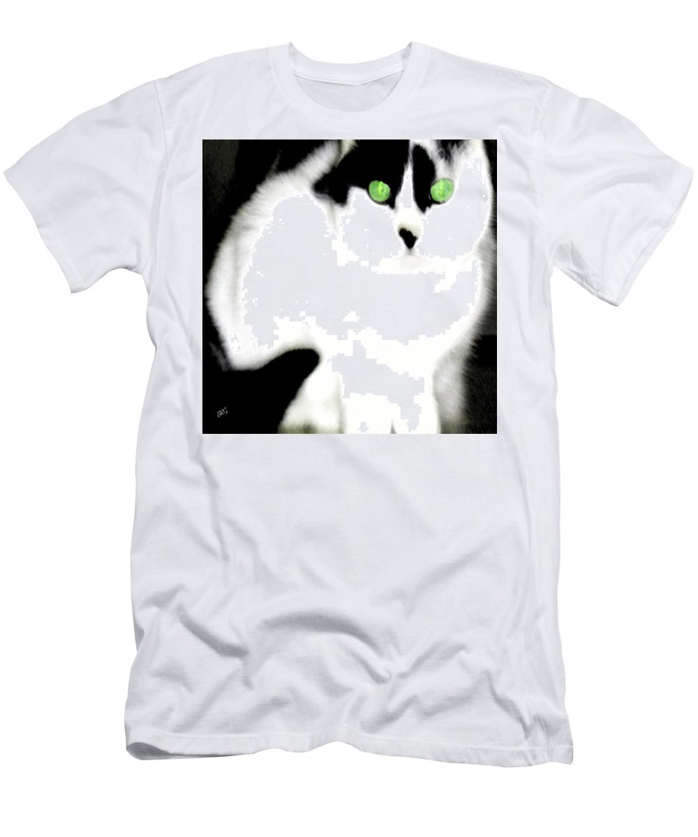 Cat Men's T-Shirt (Athletic Fit) featuring the photograph Portrait Of A White Cat by Ben and Raisa Gertsberg