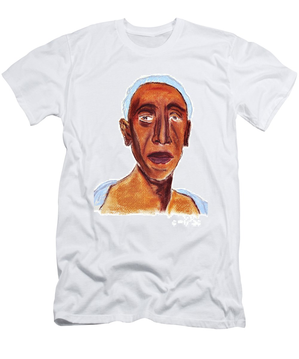 Portrait Men's T-Shirt (Athletic Fit) featuring the painting Portrait Of Old Man by Michal Boubin