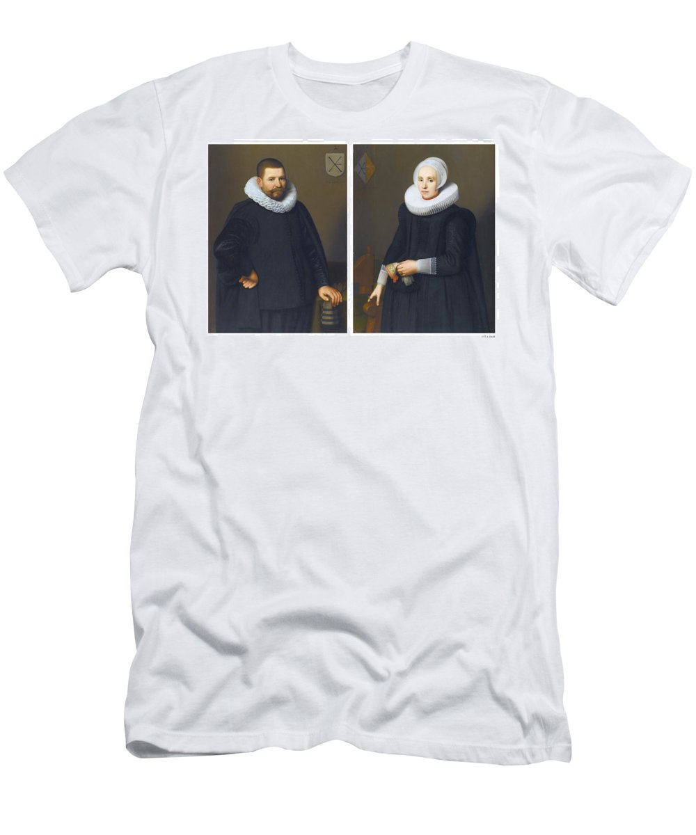 School Of Alkmaar Men's T-Shirt (Athletic Fit) featuring the painting Portraits Of Ijsenbrand Allerts by MotionAge Designs