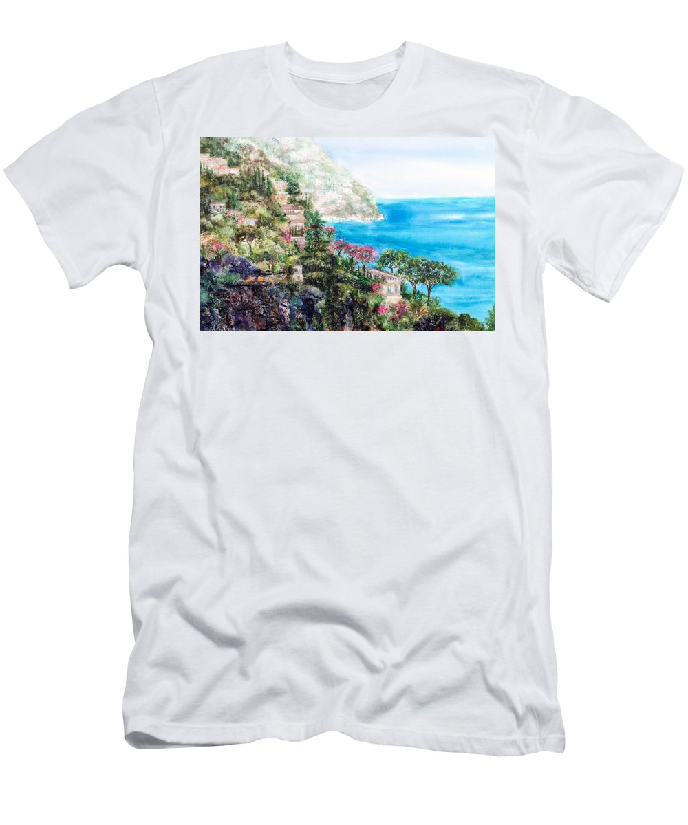 Landscape Men's T-Shirt (Athletic Fit) featuring the painting Positano by Barbara Colangelo