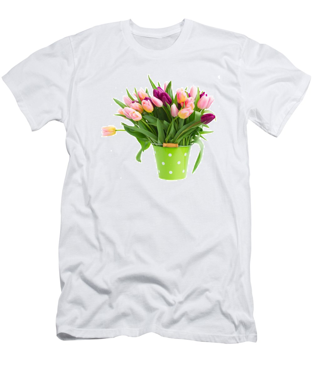 Tulip Men's T-Shirt (Athletic Fit) featuring the photograph Pot Of Pink And Violet Tulips by Anastasy Yarmolovich