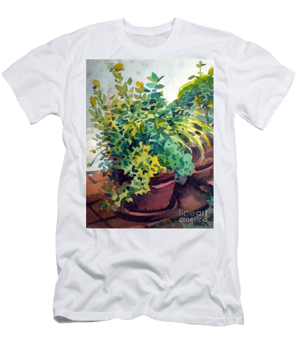 Herbs Men's T-Shirt (Athletic Fit) featuring the painting Potted Herbs by Donald Maier