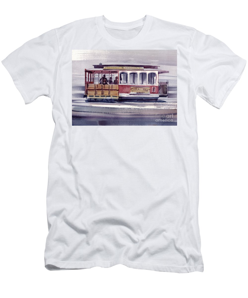 Powell Men's T-Shirt (Athletic Fit) featuring the painting Powell And Mason Line by Donald Maier