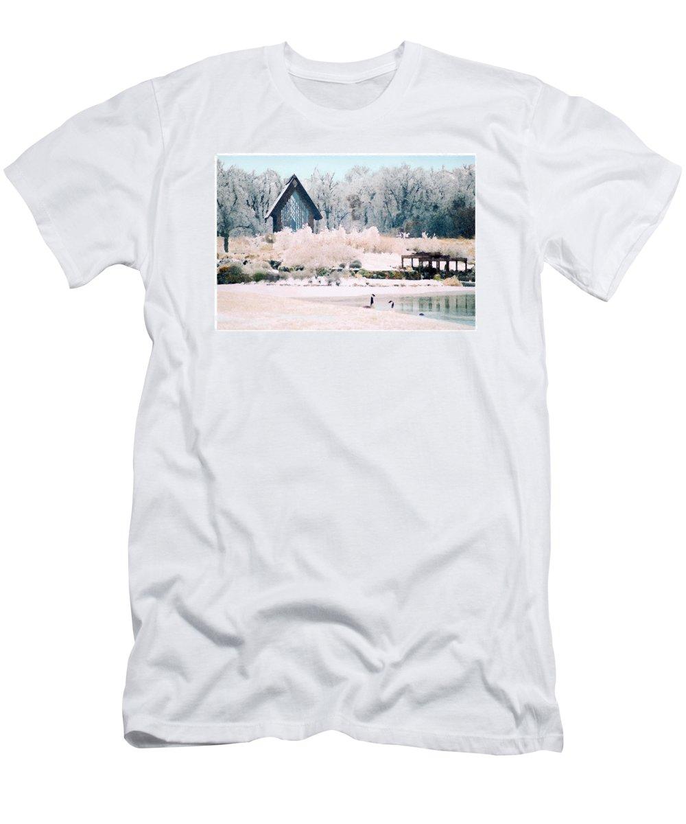 Landscape Men's T-Shirt (Athletic Fit) featuring the photograph Powell Gardens Chapel by Steve Karol