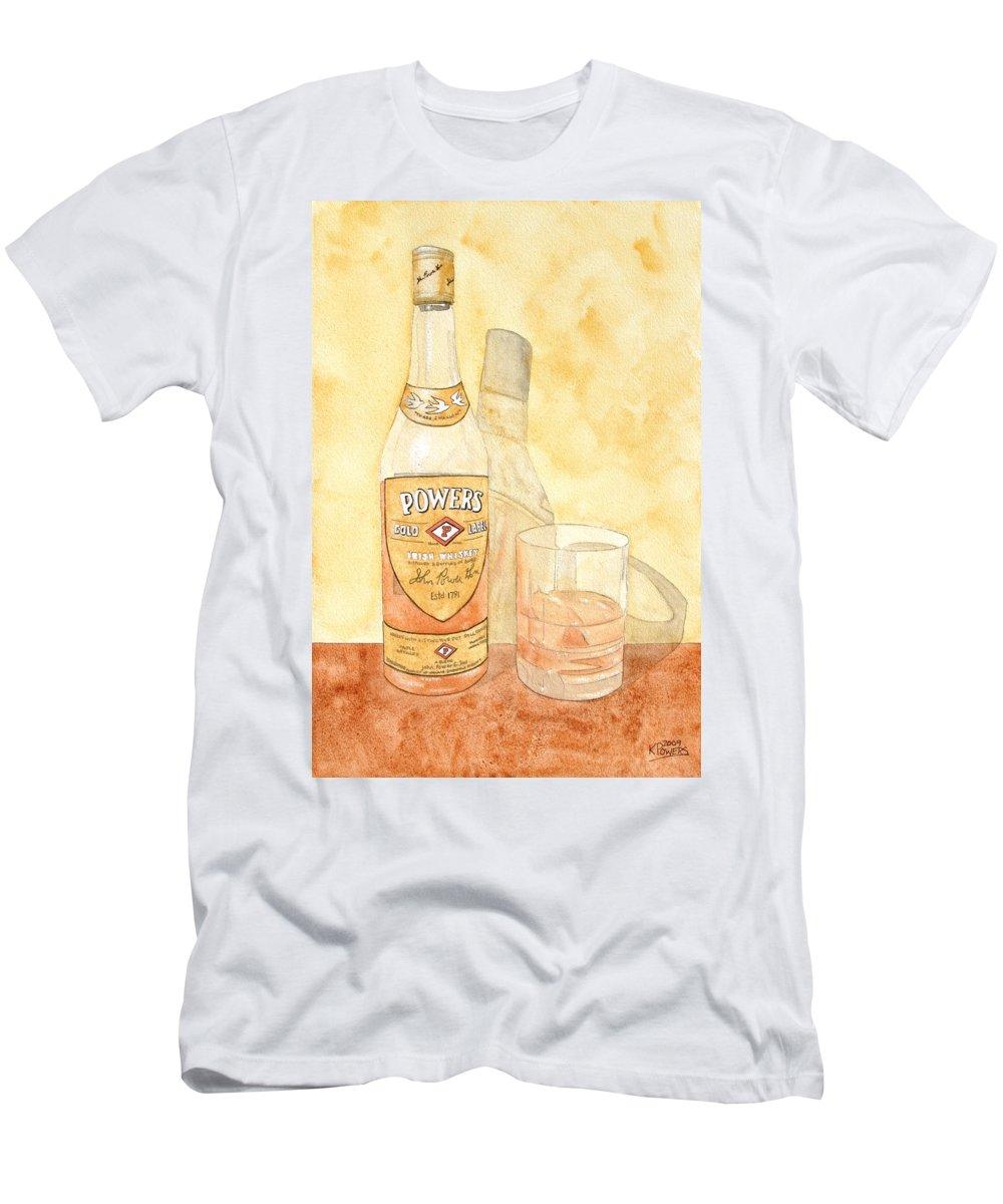 Irish T-Shirt featuring the painting Powers Irish Whiskey by Ken Powers