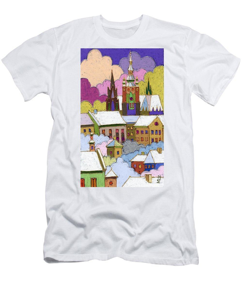 Pastel T-Shirt featuring the painting Prague Old Roofs Prague Castle Winter by Yuriy Shevchuk