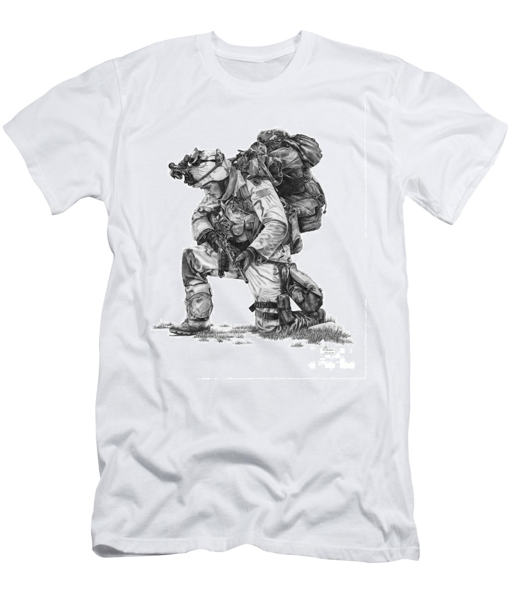 Pencil Men's T-Shirt (Athletic Fit) featuring the drawing Praying Soldier by Murphy Elliott