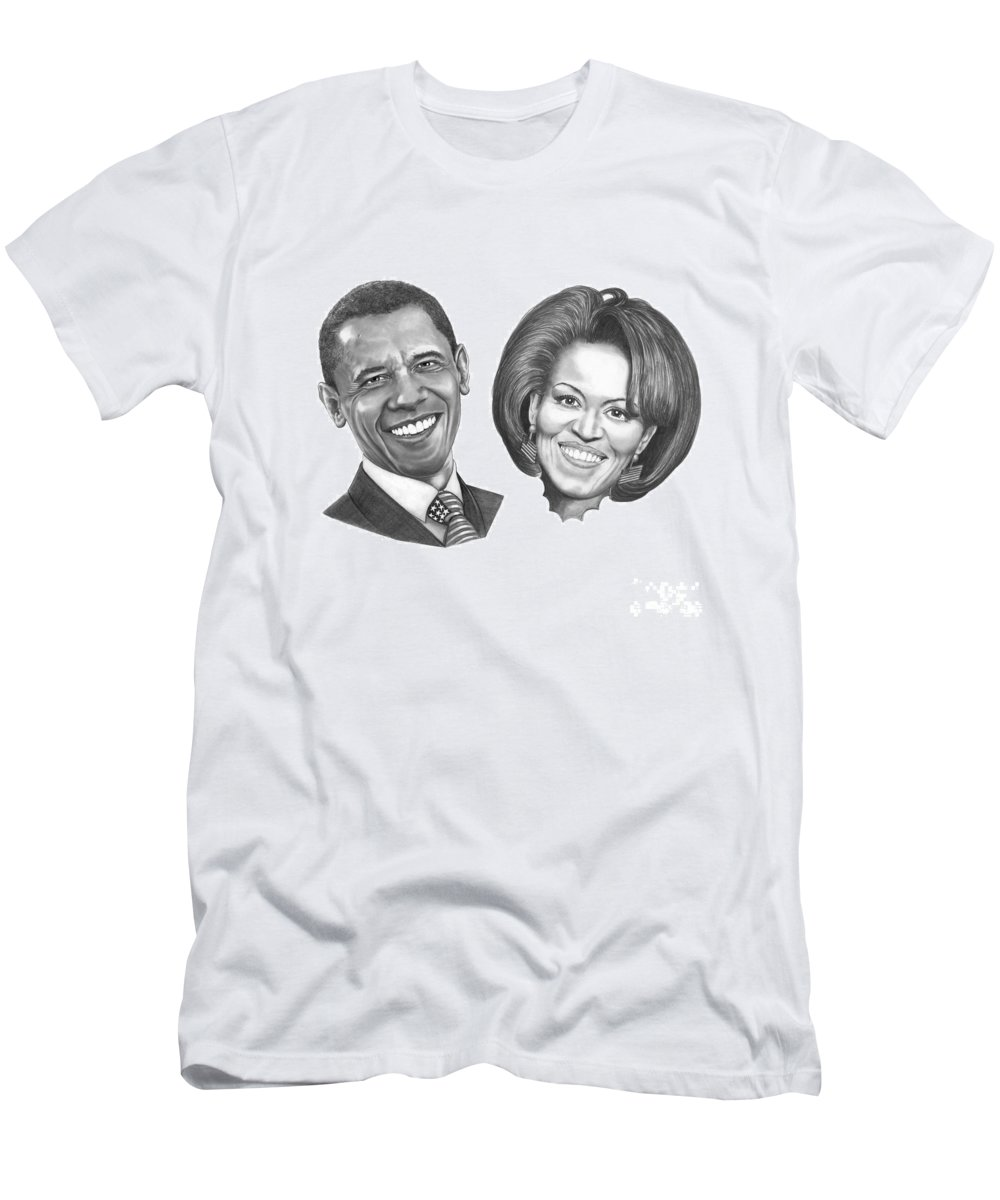 Drawings Men's T-Shirt (Athletic Fit) featuring the drawing President And First Lady Obama by Murphy Elliott