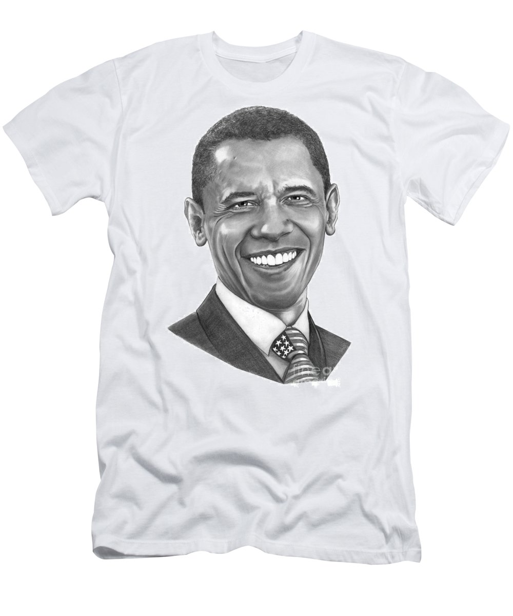 Drawing Men's T-Shirt (Athletic Fit) featuring the drawing President Barack Obama By Murphy Art. Elliott by Murphy Elliott