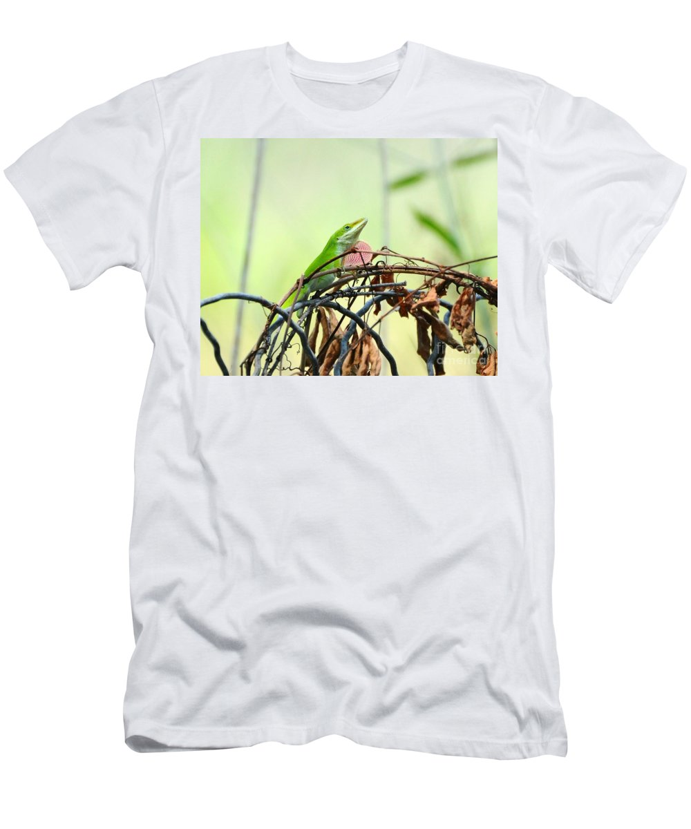 Lizard Men's T-Shirt (Athletic Fit) featuring the photograph Pretty Penny 1 by Al Powell Photography USA