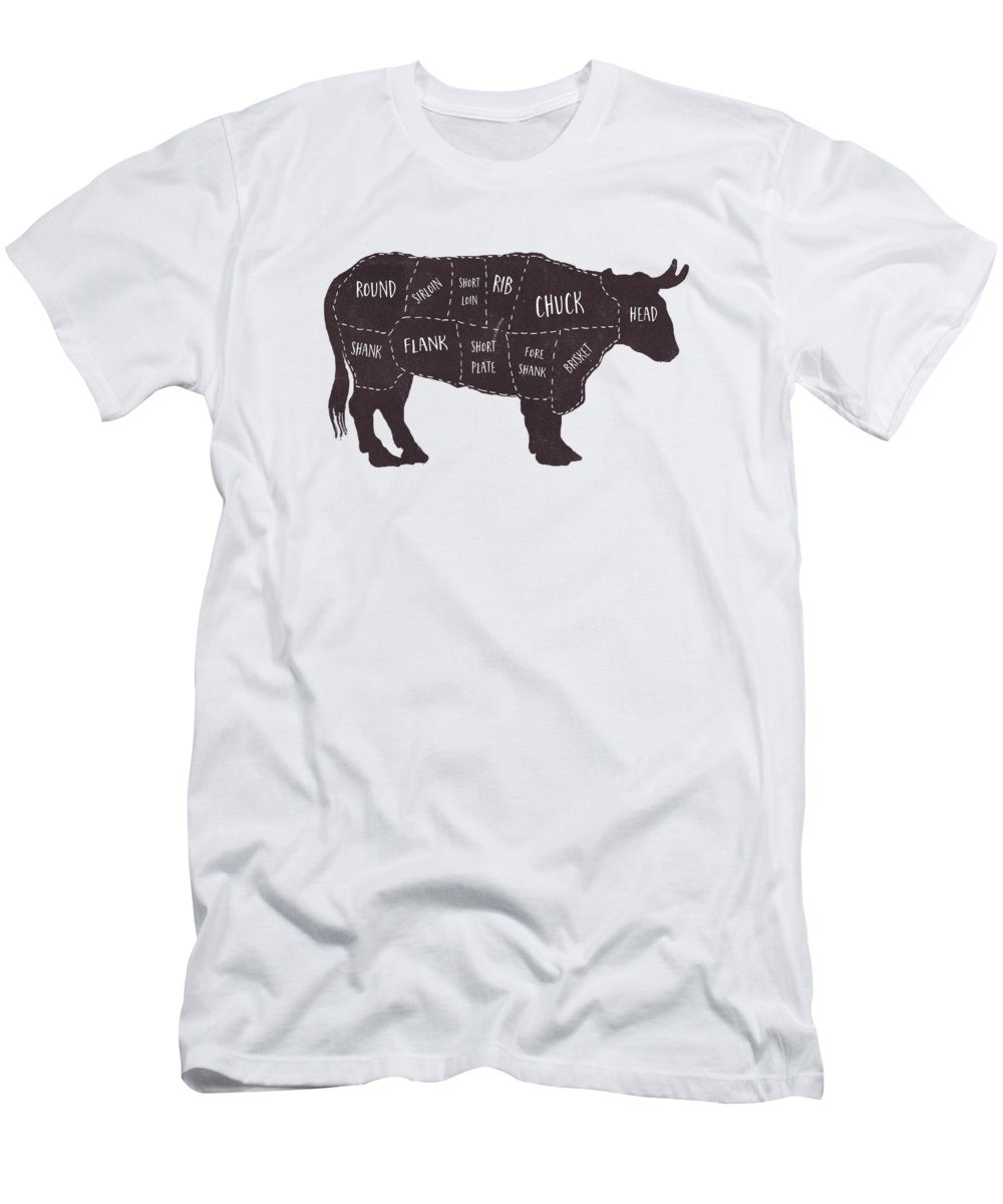 Beef Men's T-Shirt (Athletic Fit) featuring the photograph Primitive Butcher Shop Beef Cuts Chart T-shirt by Edward Fielding