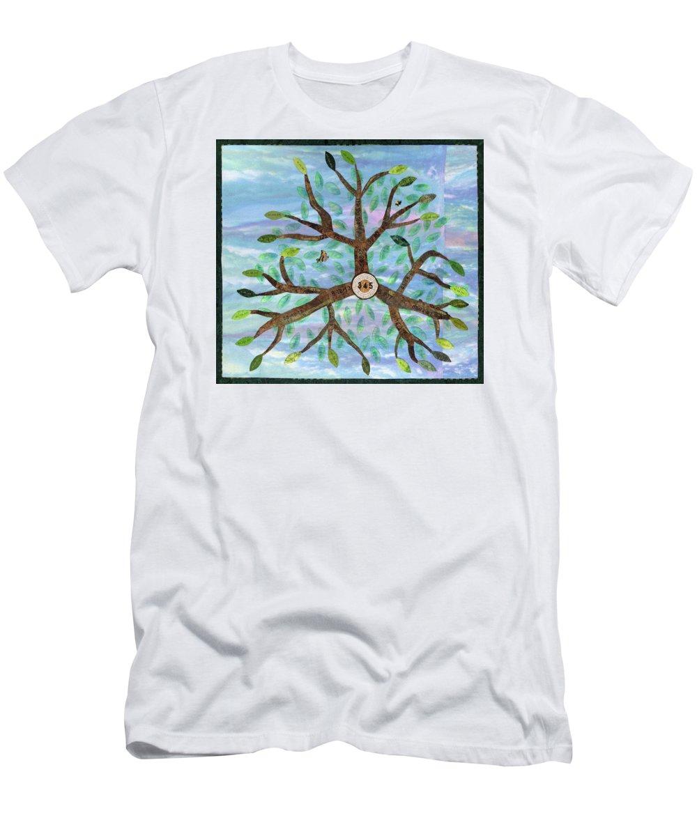 Quilt Men's T-Shirt (Athletic Fit) featuring the tapestry - textile Primitive Pythagorean Triples by Elaine F Ellison
