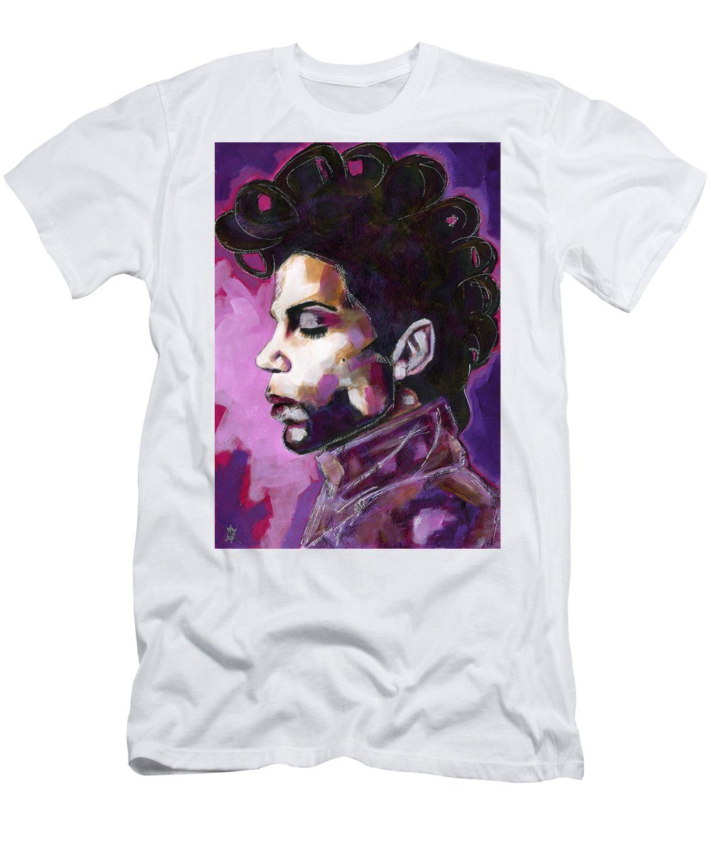 Prince Men's T-Shirt (Athletic Fit) featuring the painting Prince Purple King by KM Paintings