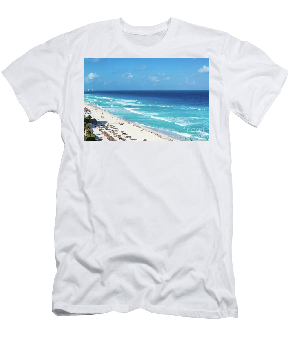 Cancun Men's T-Shirt (Athletic Fit) featuring the photograph Pristine Beach In Cancun by Jess Kraft