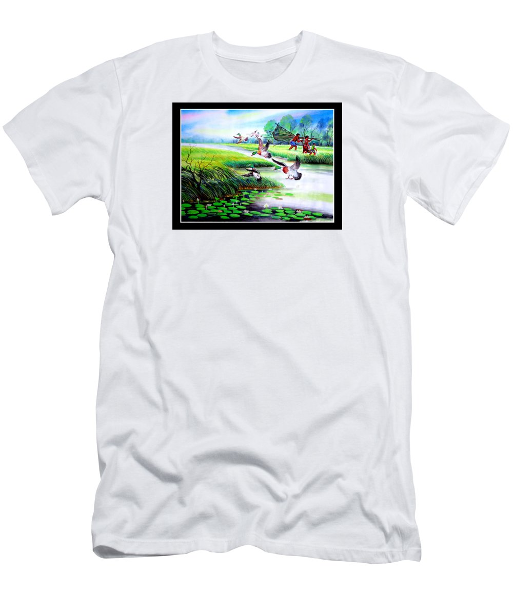 Art Photo Men's T-Shirt (Athletic Fit) featuring the painting Artistic Painting Photo Flying Bird Handmade Painted Village Art Photo by Contest Design