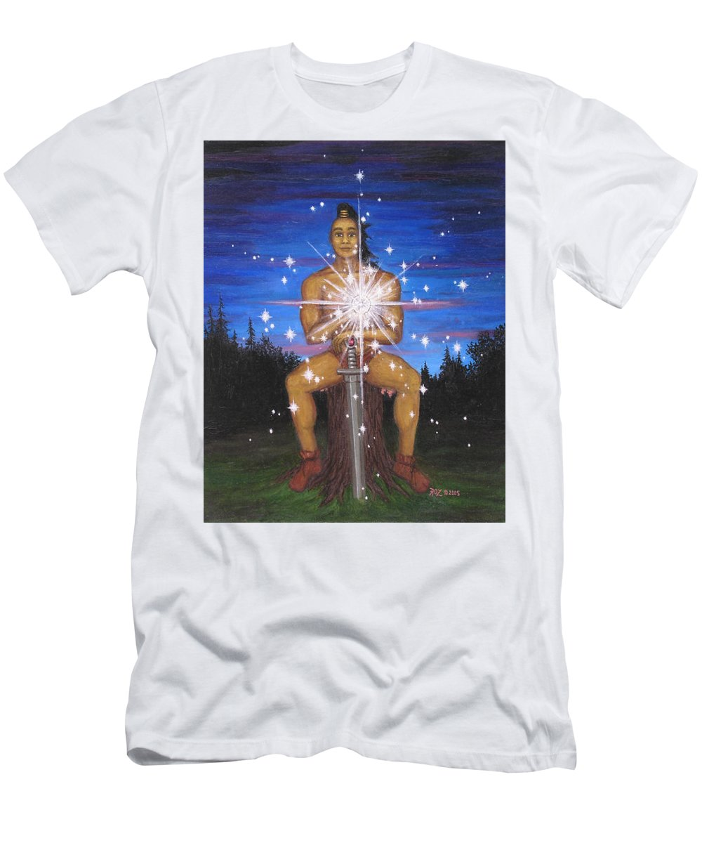Fantasy Men's T-Shirt (Athletic Fit) featuring the painting Protector Of The Mystical Forest by Roz Eve