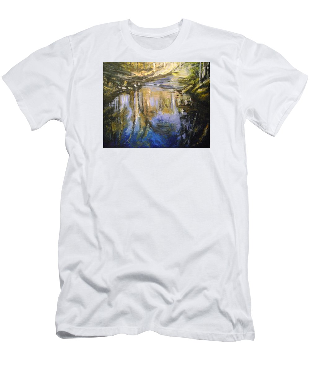 Puffers Pond T-Shirt featuring the pastel Puffers Pond by Therese Legere