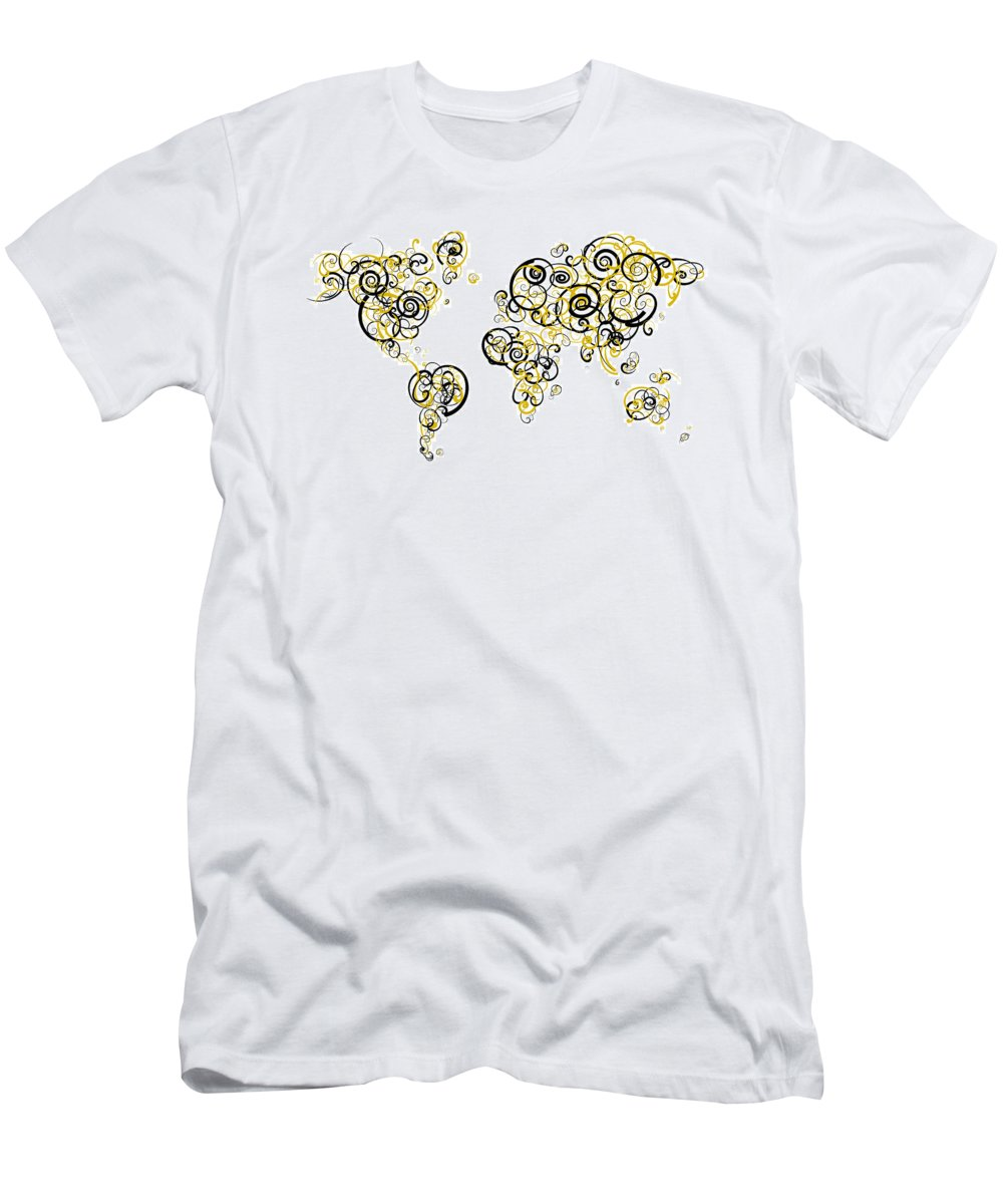Globe Men's T-Shirt (Athletic Fit) featuring the digital art Purdue University Colors Swirl Map Of The World Atlas by Jurq Studio