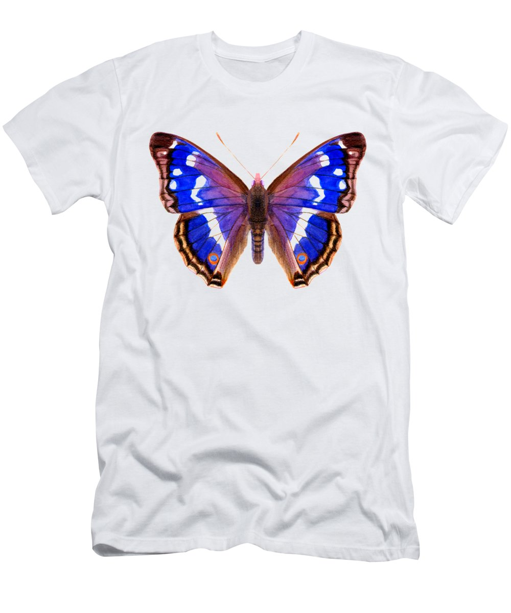 T-Shirt featuring the painting Purple Emperor Butterfly by Alison Langridge