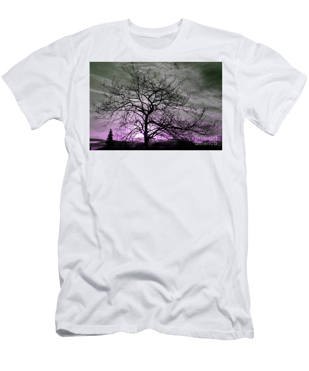 Grey Men's T-Shirt (Athletic Fit) featuring the photograph Purple Haze Across The Sky by Reva Steenbergen