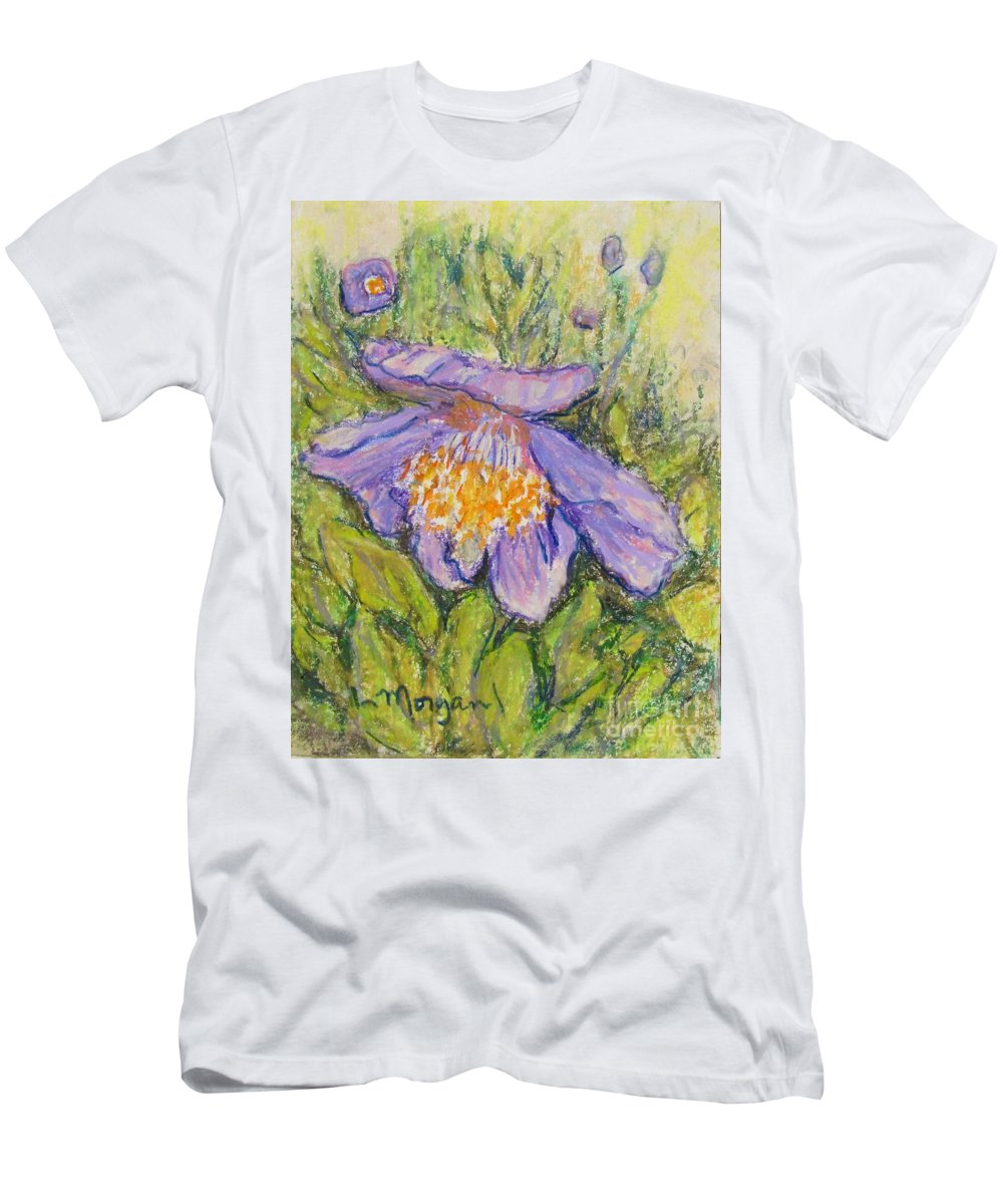 Poppy T-Shirt featuring the painting Purple Poppy by Laurie Morgan