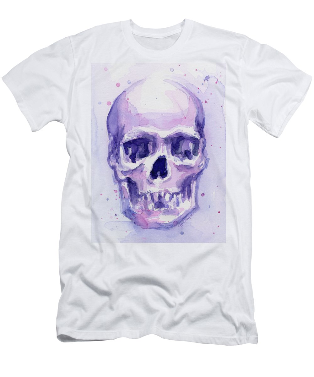 Purple Men's T-Shirt (Athletic Fit) featuring the painting Purple Skull by Olga Shvartsur
