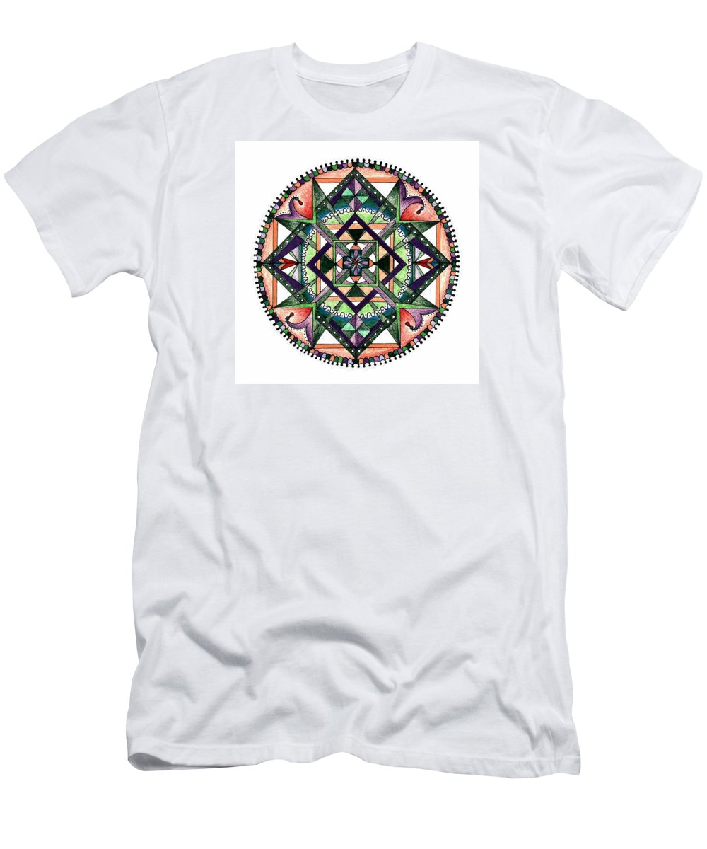 Geometric Men's T-Shirt (Athletic Fit) featuring the drawing Purple Wheel by Merrill Masson