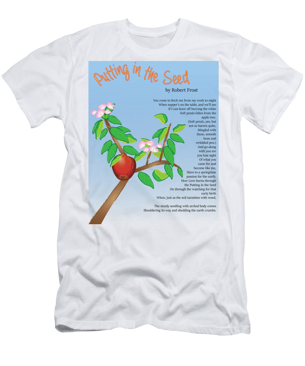 Poem Illustration Men's T-Shirt (Athletic Fit) featuring the digital art Putting In The Seed by Thomasina Durkay