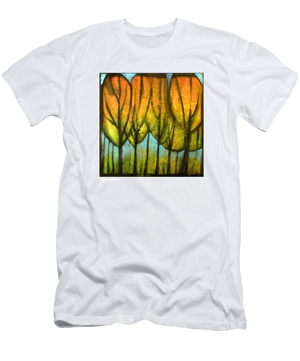 Trees Men's T-Shirt (Athletic Fit) featuring the painting Quiet Blaze by Tim Nyberg