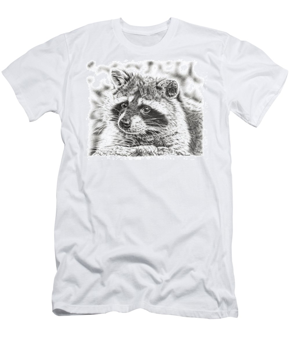 Raccoon Men's T-Shirt (Athletic Fit) featuring the drawing Raccoon by Remrov