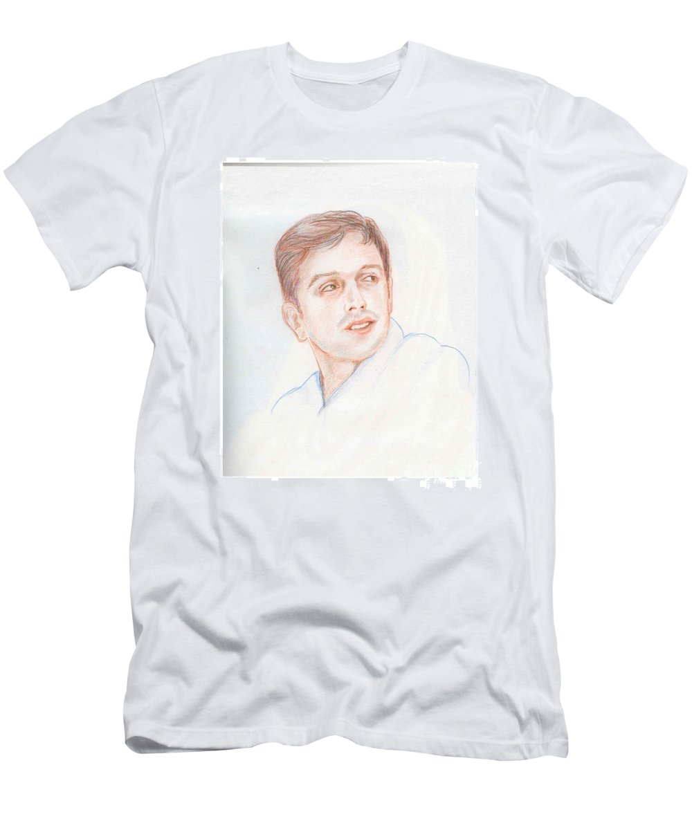 Cricketer Men's T-Shirt (Athletic Fit) featuring the drawing Rahul Dravid Indian Cricketer by Asha Sudhaker Shenoy