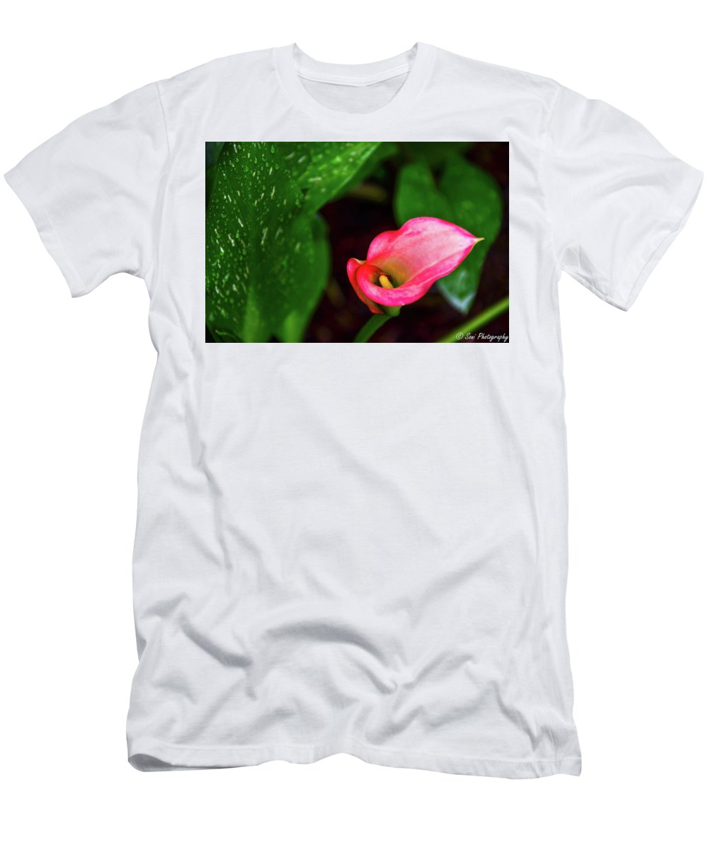 Blades Of Grass Men's T-Shirt (Athletic Fit) featuring the photograph Rain Coated Pink Calla Lily by Soni Macy