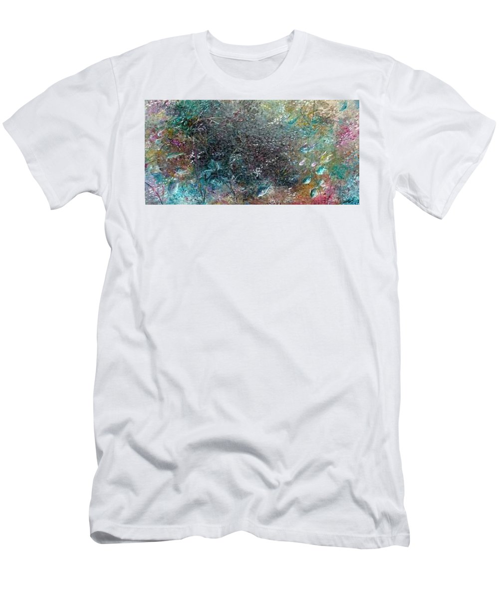 Original Abstract Painting Of Under The Sea Men's T-Shirt (Athletic Fit) featuring the painting Rainbow Reef by Karin Dawn Kelshall- Best