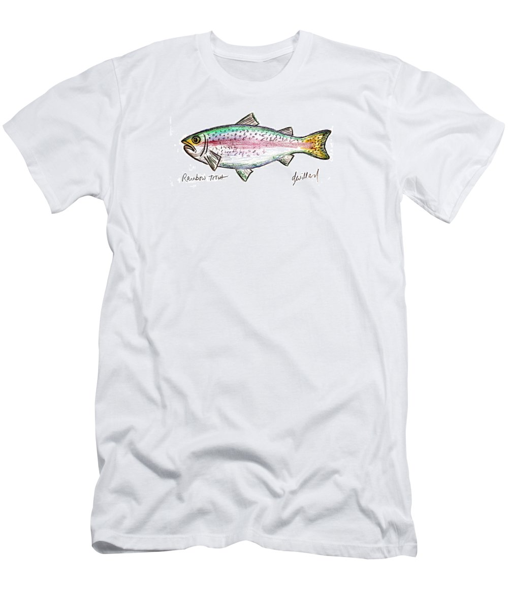 Fish Men's T-Shirt (Athletic Fit) featuring the drawing Rainbow Trout by Deborah Willard
