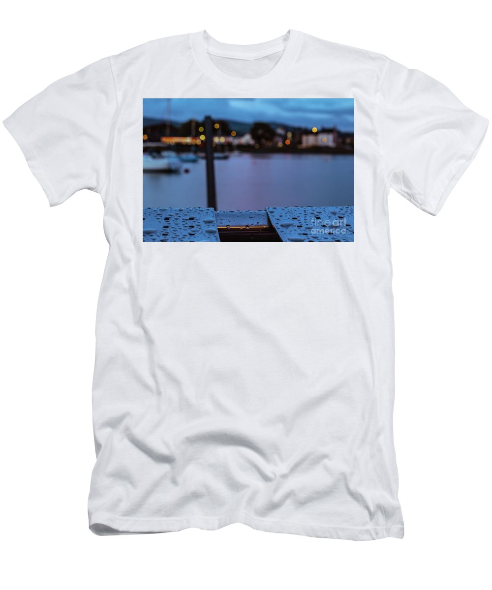 Water Men's T-Shirt (Athletic Fit) featuring the photograph Raindrops On Metal Bench 5 by Marc Daly