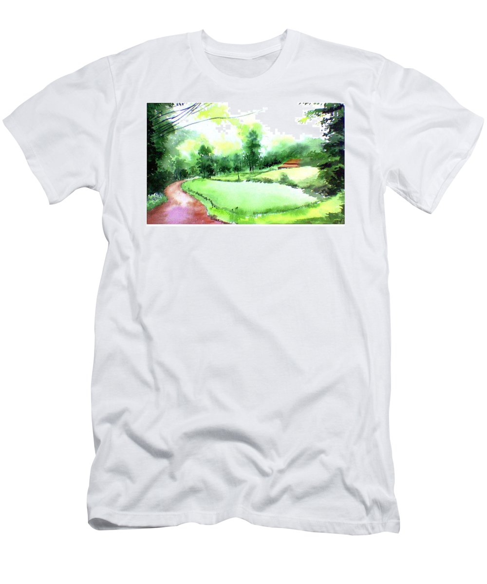 Landscape Men's T-Shirt (Athletic Fit) featuring the painting Rains In West by Anil Nene
