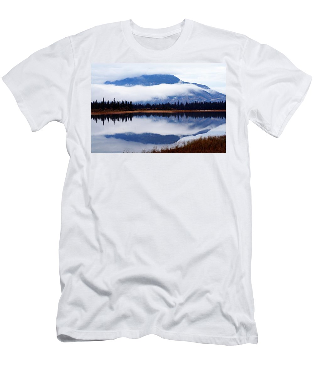 Athabasca River Men's T-Shirt (Athletic Fit) featuring the photograph Rainy Day Reflections by Larry Ricker
