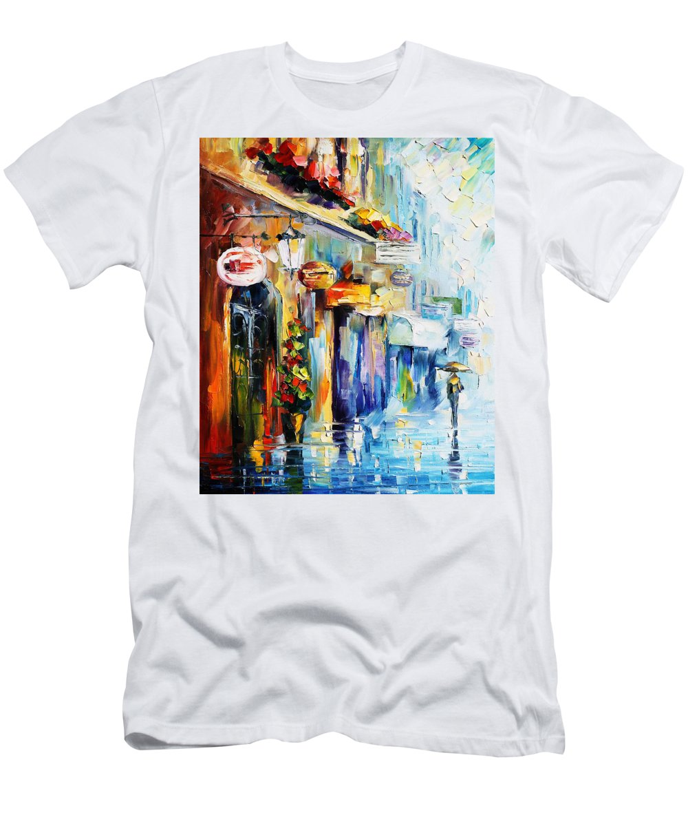 Afremov Men's T-Shirt (Athletic Fit) featuring the painting Rainy Stroll by Leonid Afremov