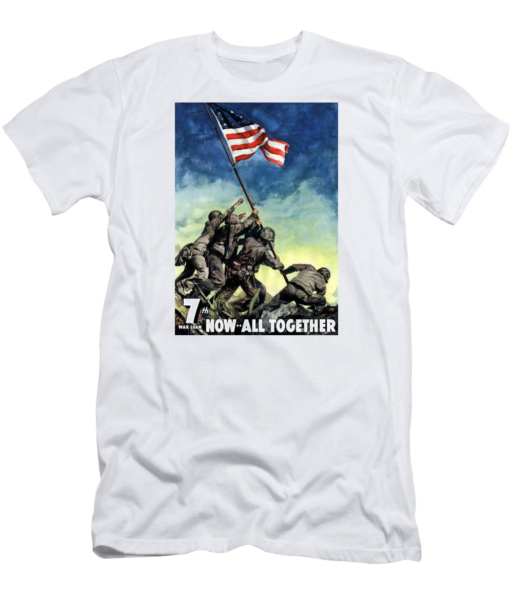 Iwo Jima Men's T-Shirt (Athletic Fit) featuring the painting Raising The Flag On Iwo Jima by War Is Hell Store