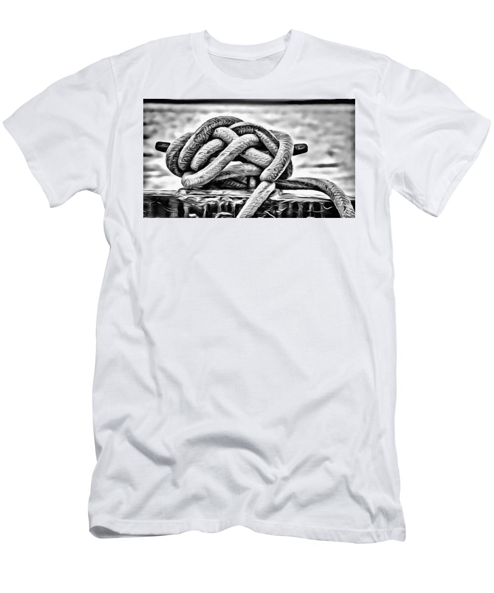 Ship Rope Men's T-Shirt (Athletic Fit) featuring the photograph Ready To Dock Art by Roxy Hurtubise