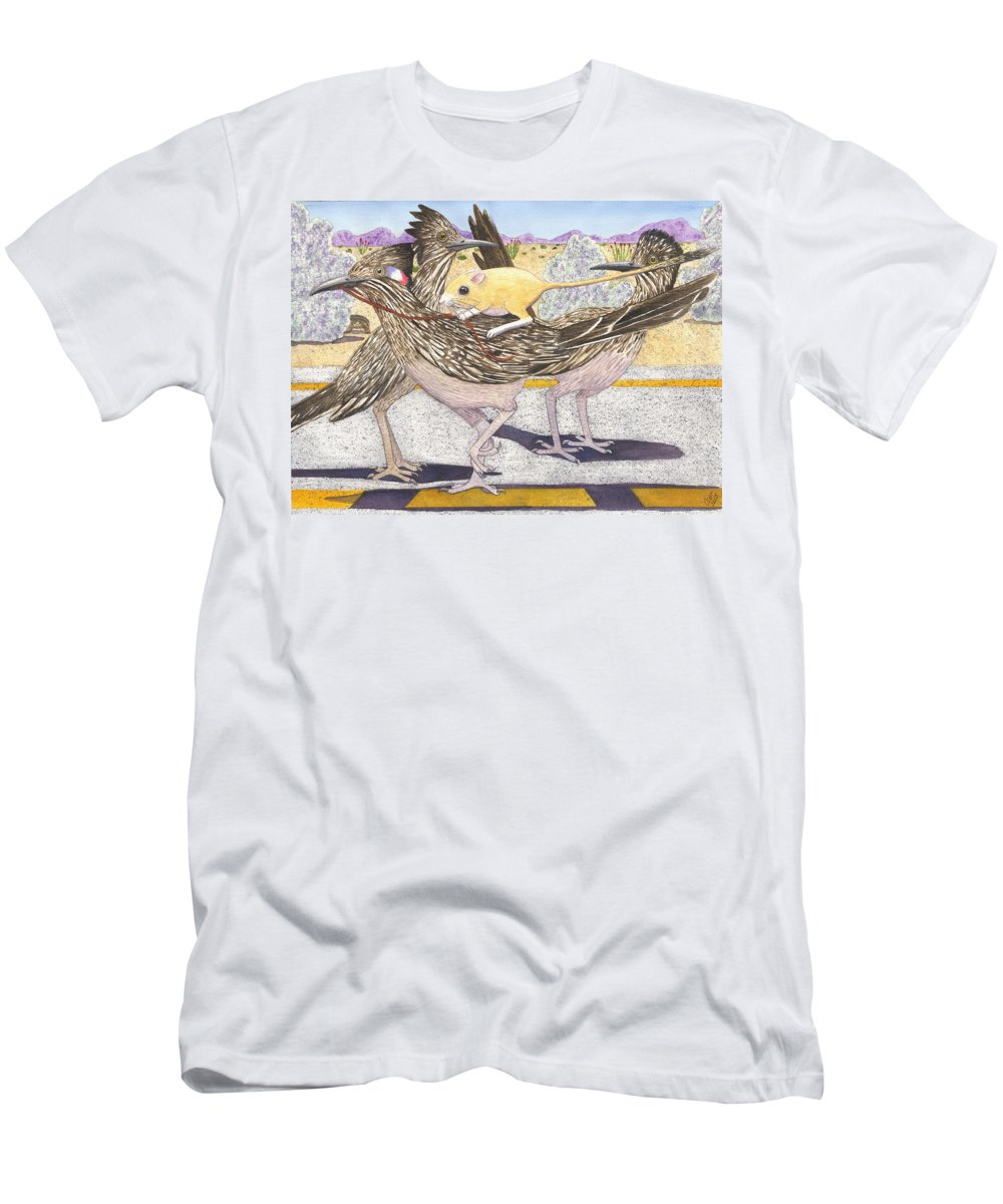 Roadrunner Men's T-Shirt (Athletic Fit) featuring the painting Really? by Catherine G McElroy
